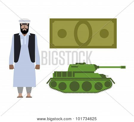 Set Of Icons For Military Conflict In Syria. Refugee, Money And Tank. Vector Political Illustration