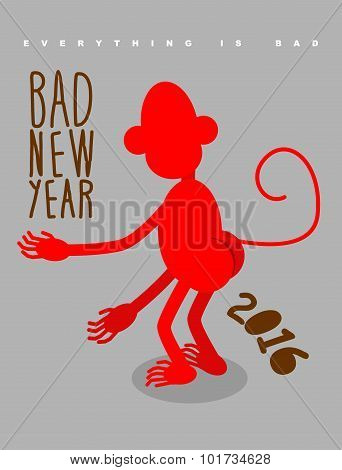 Bad New Year. Everything Is Bad. Red Monkey Stands Back. Christmas Card Bully