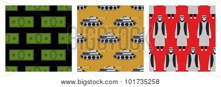 War In Syria. Set Of Seamless Pattern. Many Money. Military Transport Tanks. Refugees In  Bloody Red