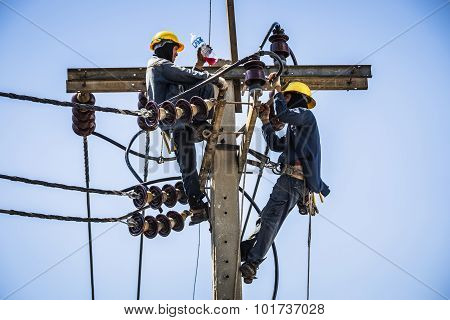 Electricians Resting While Working