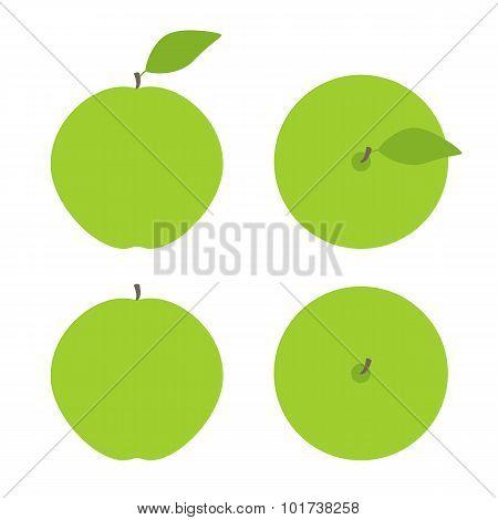 Set Of Green Apples