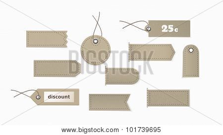 Cardboard Tags Of Different Shapes.