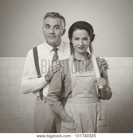 Happy Vintage Couple At Home