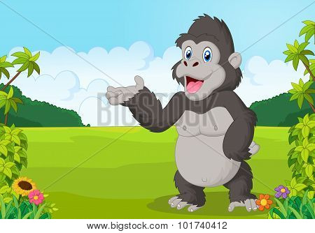 Cartoon gorilla waving