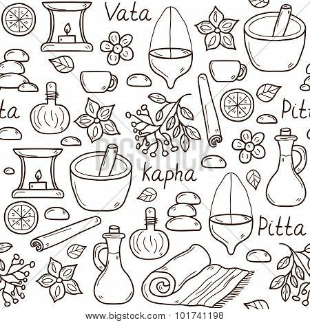 Seamless background with cartoon ayurvedic objects in hand drawn style: herbs, stones, oil, spices,
