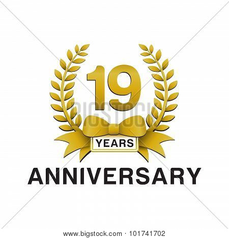 19th anniversary golden wreath logo