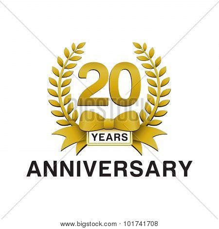 20th anniversary golden wreath logo