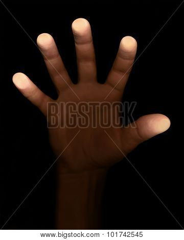 Fingers Touch The Glass On A Black Background