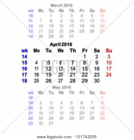 April 2016 Calendar Week Starts On Monday