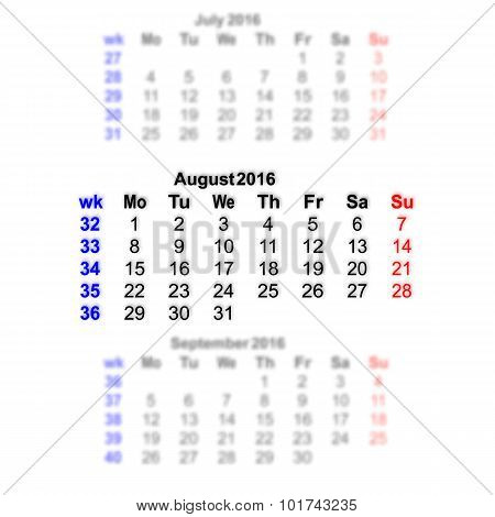 August 2016 Calendar Week Starts On Monday