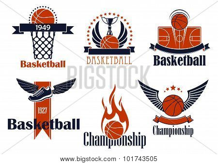 Basketball sport icons with game items