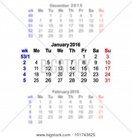 January 2016 Calendar Week Starts On Monday