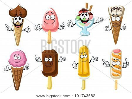 Ice cream cones, popsicles and sundae