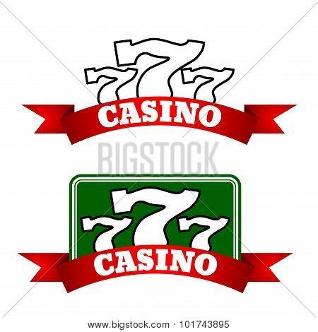 Jackpot casino icon with winning triple seven