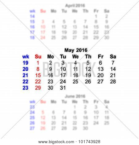 May 2016 Calendar Week Starts On Sunday
