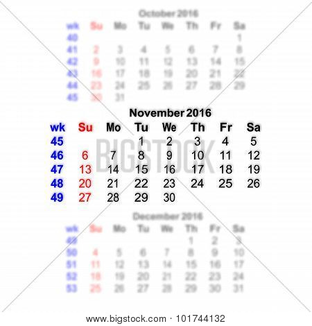 November 2016 Calendar Week Starts On Sunday