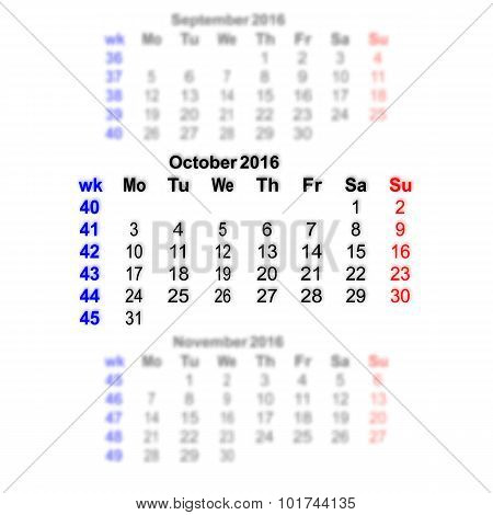 October 2016 Calendar Week Starts On Monday