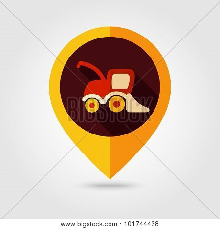 Combine Harvester Flat Mapping Pin Icon