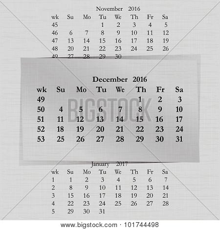 Calendar Month For 2016 Pages December