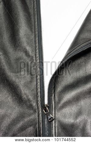 Zip On Leather Coat