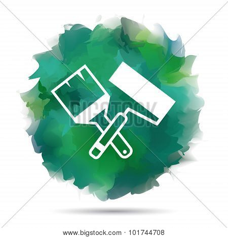 Paint roller and brush vector icon
