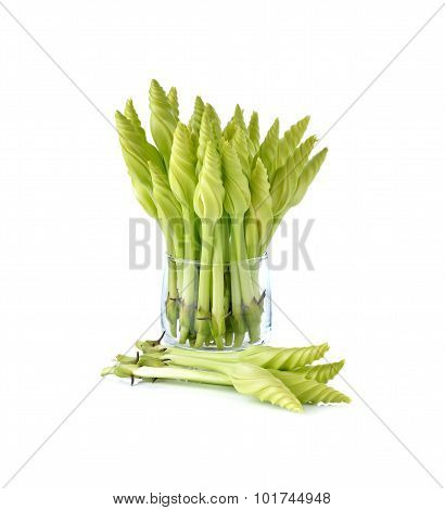 Fresh Lemon Lily Or Chinese Day-lily In Glass On White Background