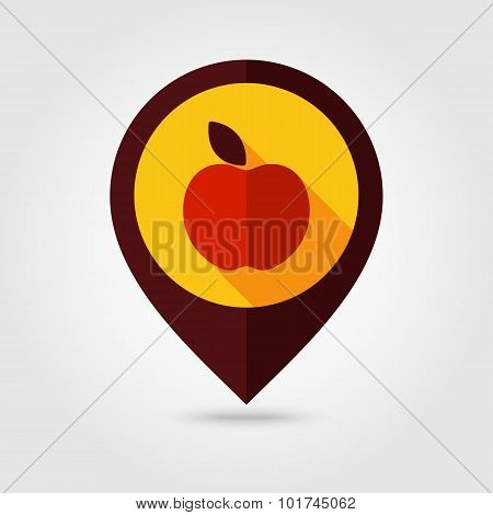 Apple Flat Mapping Pin Icon