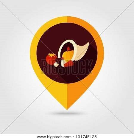 Harvest Cornucopia Flat Mapping Pin Icon