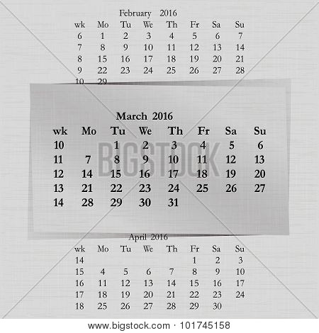 Calendar Month For 2016 Pages March Start Monday