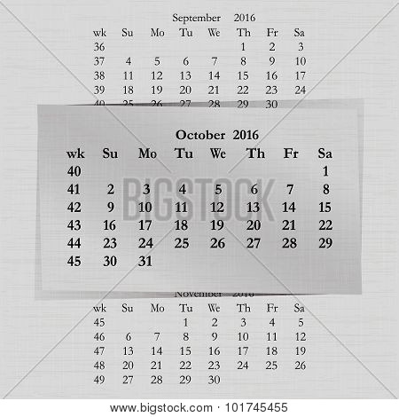 Calendar Month For 2016 Pages October