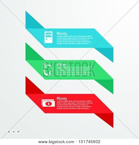 Vector FLAT version colorful infographics for your business presentations. Can be used for info graphics, graphic or website layout vector, numbered banners, diagram, web design.