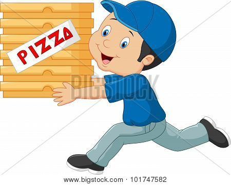 Cartoon a delivery man holding pizza