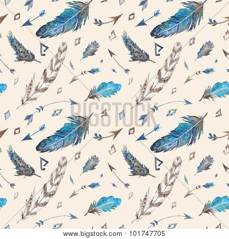 Watercolor Tribal Feather Pattern