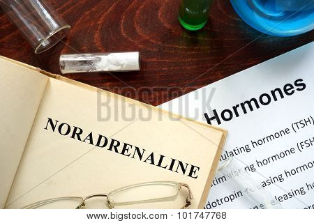 Hormone noradrenaline written on book.