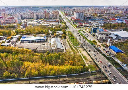 Bird eye view on Melnikayte street. Tyumen. Russia