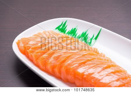 Salmon Sashimi With Wood Texture 1