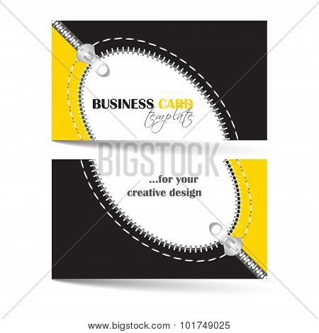 Creative business card template with zip arc