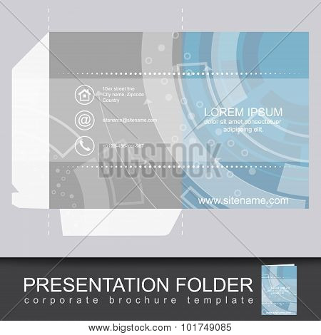 Presentation corporate folder template with die cut design.