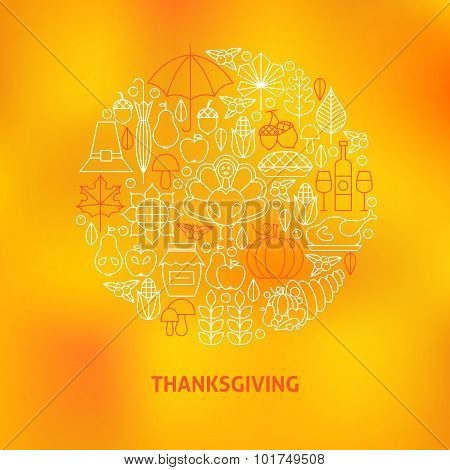 Thin Line Thanksgiving Dinner Holiday Icons Set Circle Concept