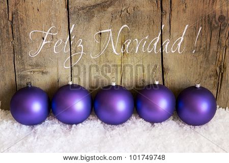 Purple Christmas Balls With Snow