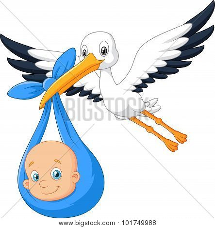 Cartoon bird Stork with baby