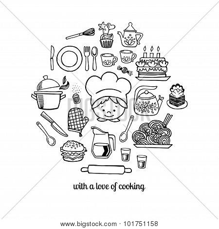 Kitchen Tools And Cook Sketch Icons Isolation Vector Set