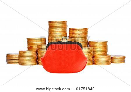 Many Coins In Column And Red Purse Isolated On White