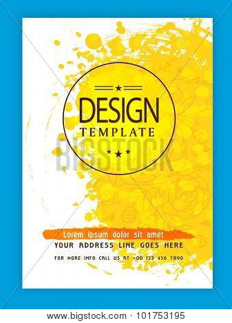 Creative flyer, template or banner design decorated with floral pattern and yellow color splash.
