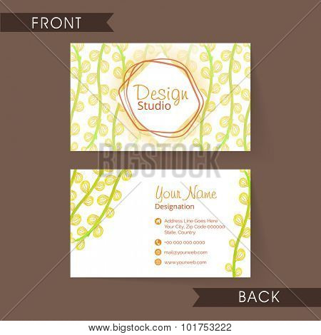 Stylish floral design decorated horizontal business card, visiting card or name card for your profession, company and organization.