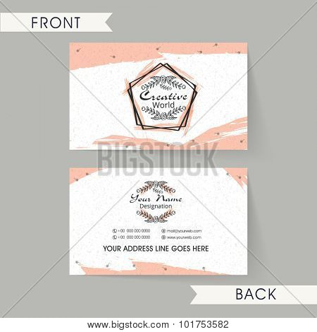 Creative horizontal business card, name card or visiting card set with front and back view.