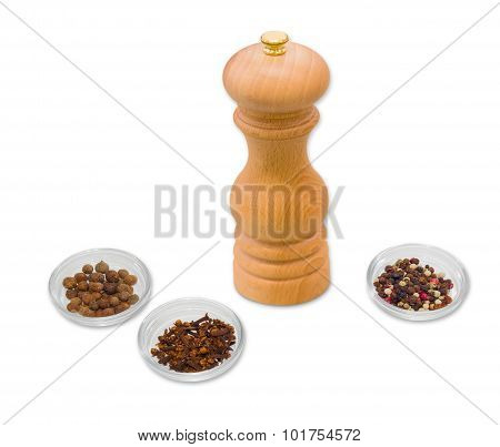 Handmade Mill For Spices, Clove  And Different Types Of Pepper