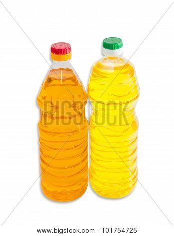 Two Bottles Of Sunflower Oil On A Light Background