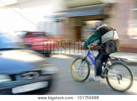 Abstract Image Of Cyclist