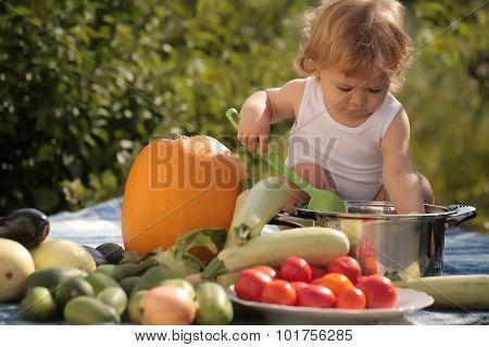 Cute Child At Picnic